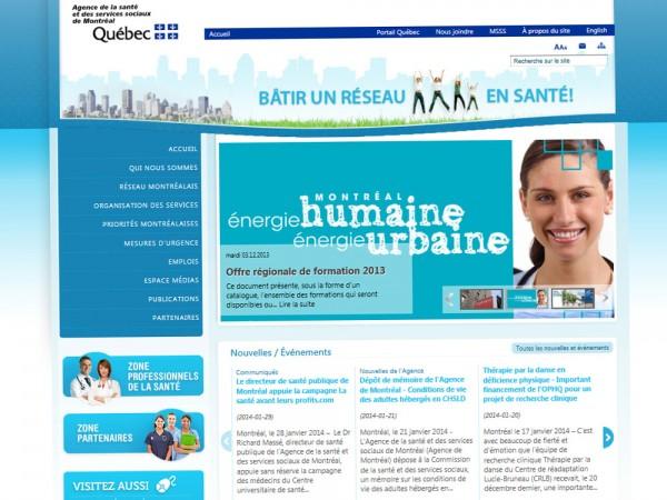Conception du site web - Agence de la santé et des services sociaux de Montréal