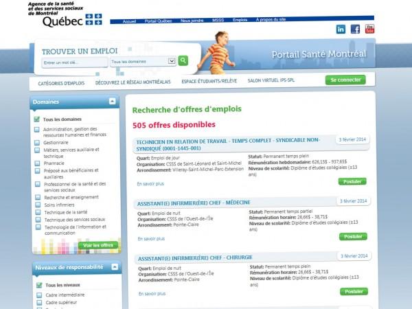 Site web - Emplois Santé Montréal