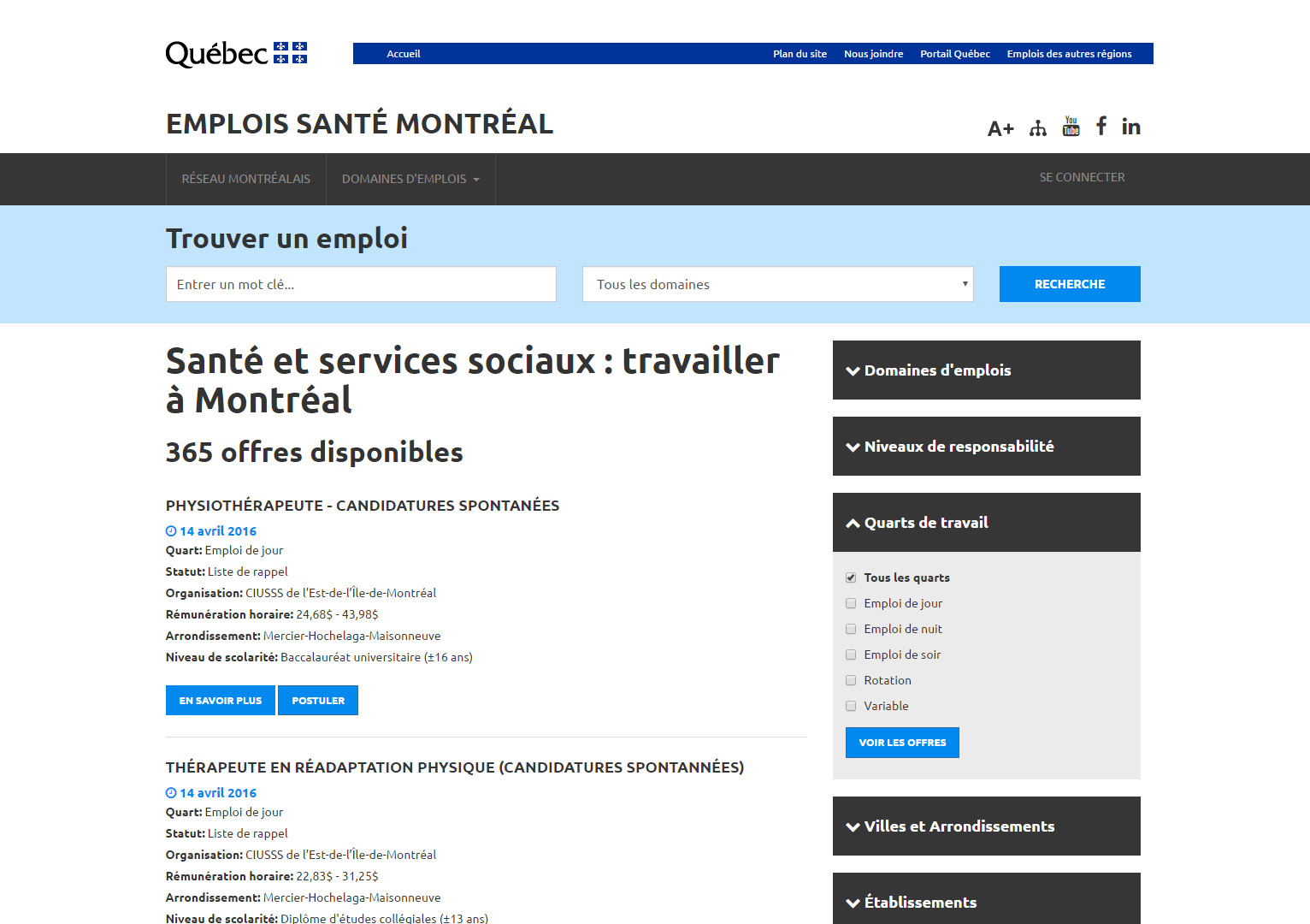 Emplois Santé Montréal